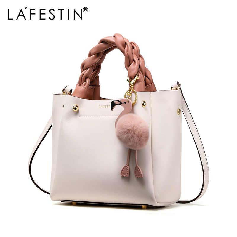 LAFESTIN תיק עבור נשים כתף תיק עור אמיתי אופנה פלמינגו השערות Tote תיק יוקרה מעצב Bolsa Feminina