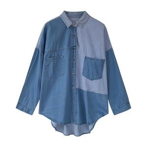 Image 4 - GOPLUS Womens Shirt Blue Blouse Clothing for Women Tops 2020 Turn Down Collar Patchwork Denim Blouses Shirts Haut Chemise Femme