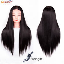 Alileader 65Cm Mannequin Head With Hair Training Head Hair Practice Barber 7 Styles Hair Training Head For Hairstyles Free Gift