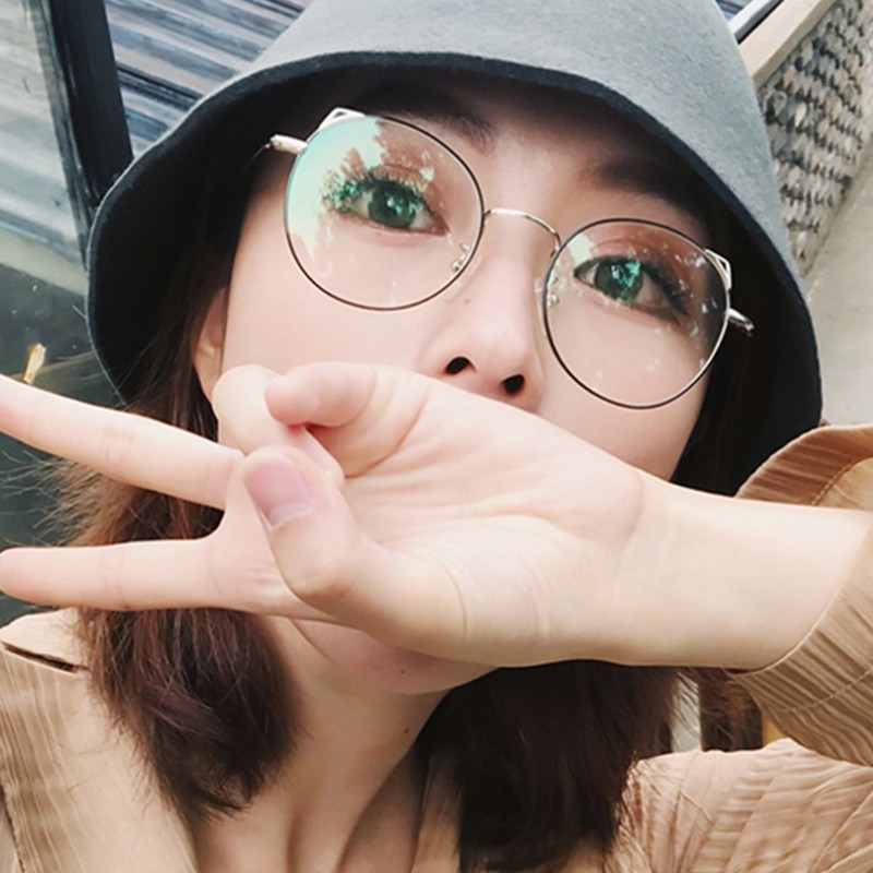 Computer Glasses Eyewear Frame Anti Blue Light Game Glasses Cat Eye Anti Glare Eyeglasses Frame Women Round Clear Lens Glasses