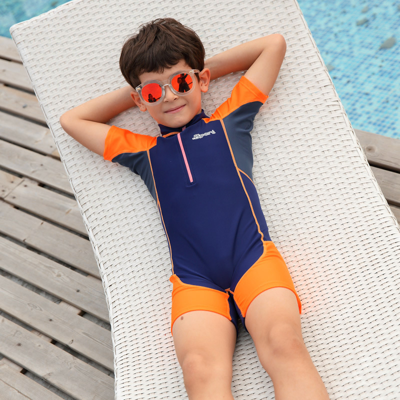 Sports Training Tour Bathing Suit BOY'S Zipper One-piece Swimming Suit Short Sleeve Boxer Students Set School Order Hot Springs