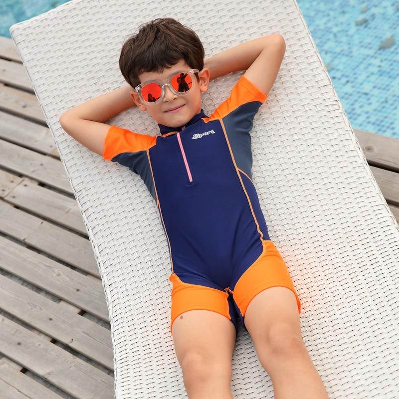 Sports Training Tour Bathing Suit BOY'S Zipper One-piece Swimming Suit Short Sleeve Boxer Students Set School Order Hot Springs
