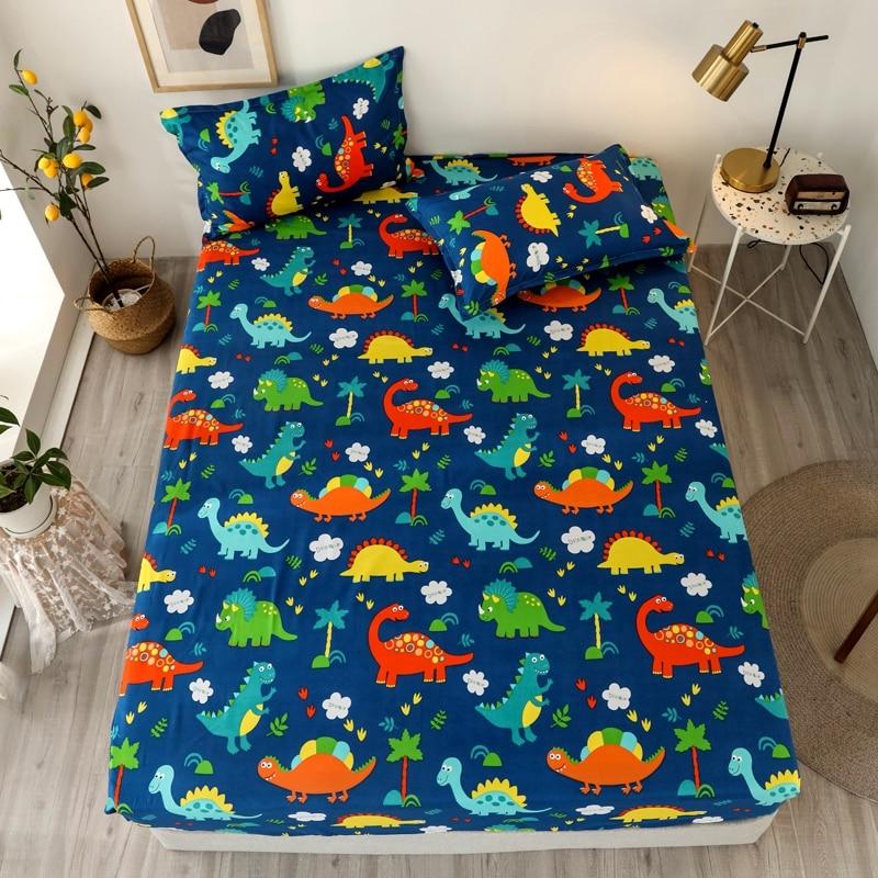 Bonenjoy 3 pcs Bed Sheet Cartoon Style Dinosaur Printed Bed Sheets and Pillowcase for Kids draps de lit Sheet on Elastic