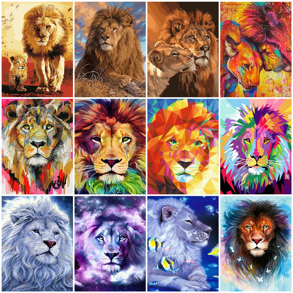 AZQSD Frameless Lion DIY Painting By Numbers Animal Modern Wall Art Picture Acrylic Paint On Canvas For Home Decor Artwork