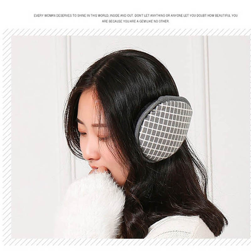 Calymel Winter Warmer Headphones Unisex Fashion Grid Earmuffs Soft Casual Outdoor Ear Warmer Cover Earflap New