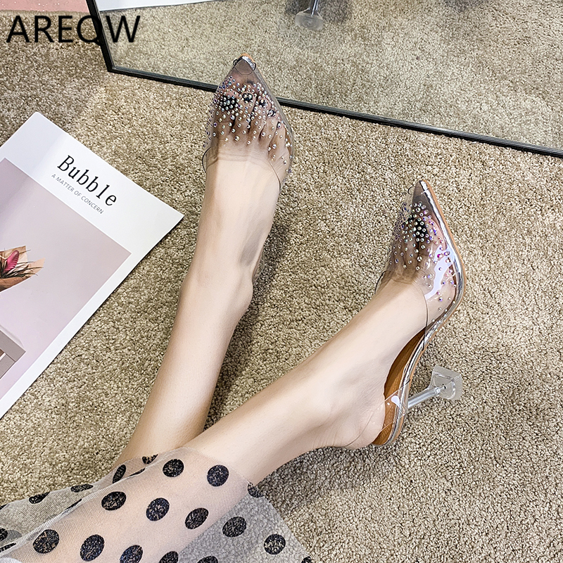 Luxury Women Pumps 2020 Transparent High Heels Sexy Pointed Toe Slip-on Wedding Party Brand Fashion Shoes
