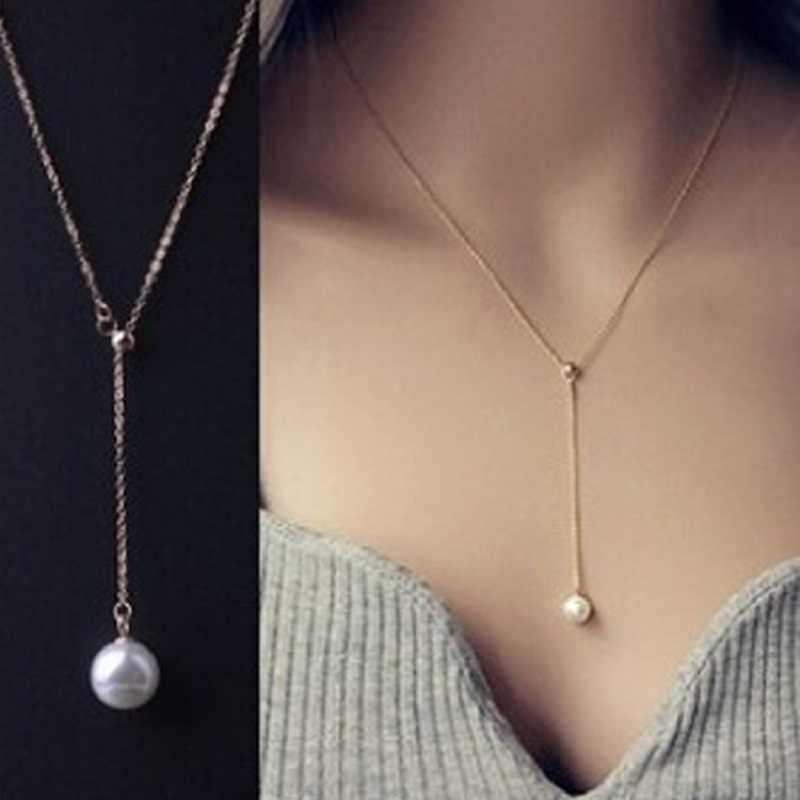 2020 venda topo da moda feminina gargantilha colares kolye versão coreana clavícula ajustável colar pérola pingente moda marisco