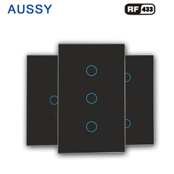 Настенный сенсорный выключатель светильник переключатель закаленное стекло панель RF433 беспроводной дистанционный пульт стандарт США ...