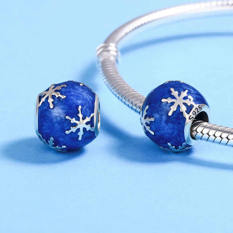 CodeMonkey אותנטי 925 סטרלינג כסף כחול צבע Sonw קסמי Fit מקורי עיצוב צמיד חרוזים DIY תכשיטי ביצוע CMC144