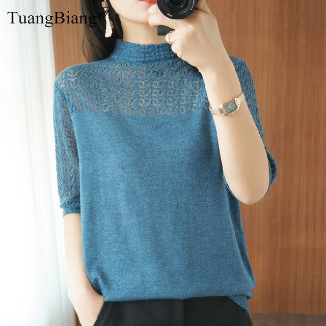 Summer Women knitted Short sleeve 2021 Thin Sweater Female Hollow out Lace Turtleneck Pullover Ladies knit Cotton Purple Jumpers 1