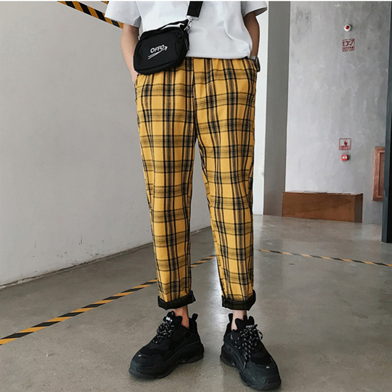 Plaid Pants Korean Men Joggers Streetwear Hip-Hop Yellow Straight Plus-Size Casual Man