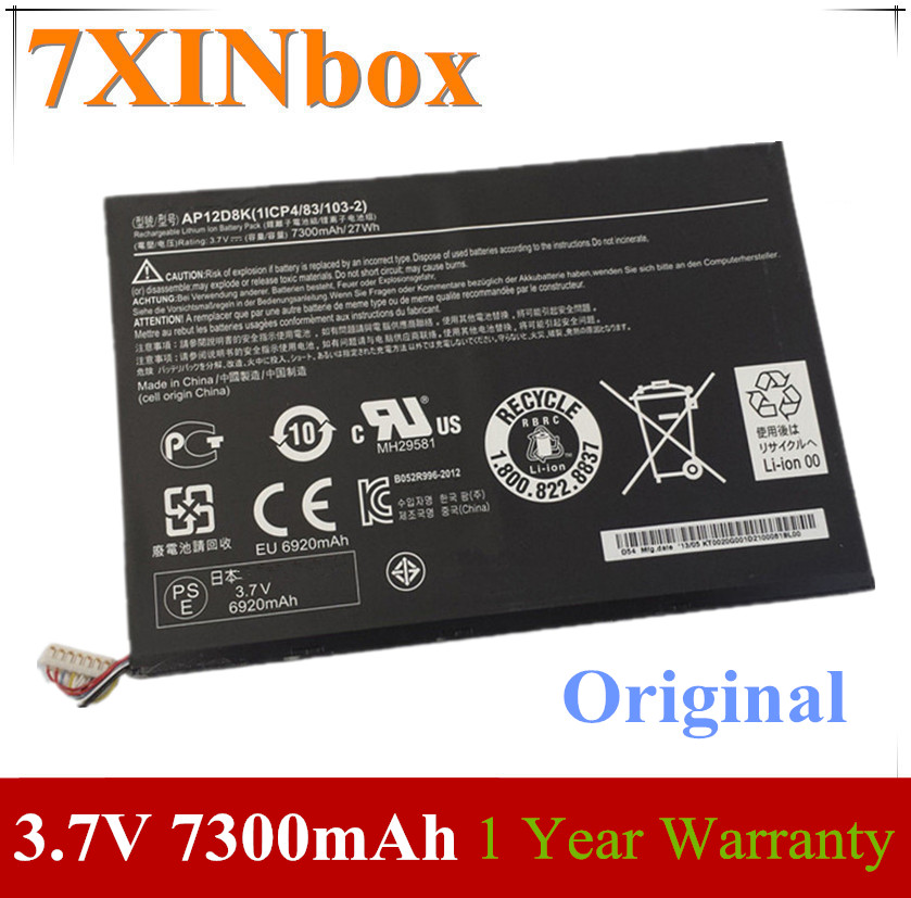 Original 7300mAh Battery AP12D8K For Acer Iconia W510 W510P W510-1654 W510P-1867