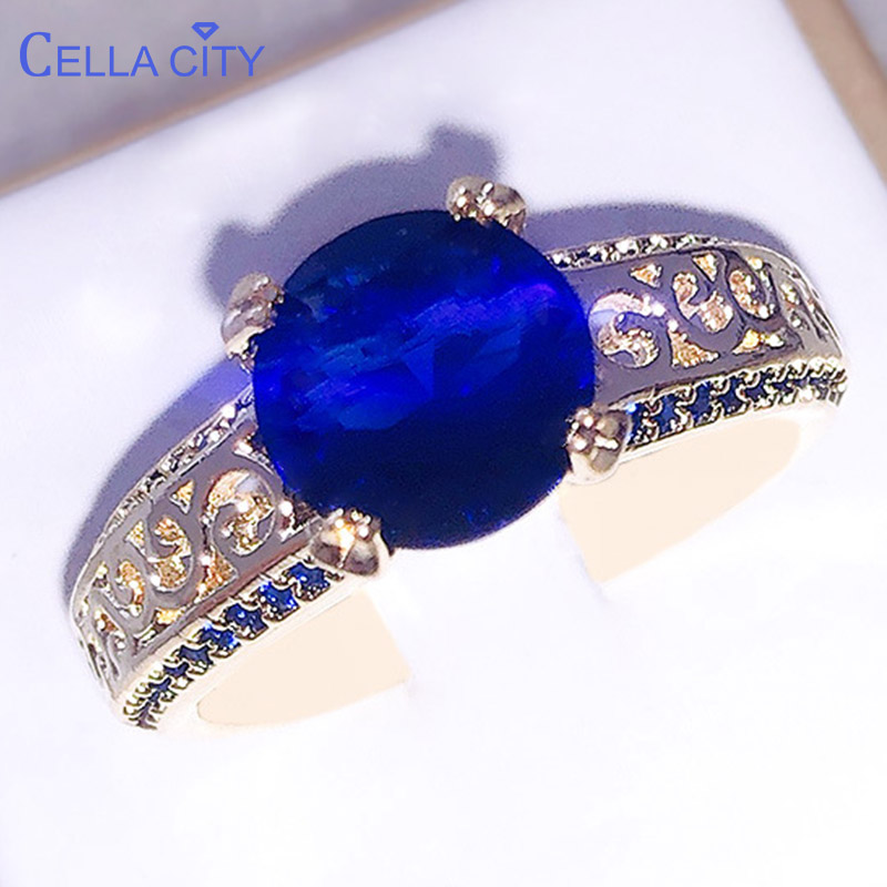 Cellacity Female Engagement Ring with Round Gemstones Fine Jewelry Silver 925 for Women Sapphire Zircon Ruby Rose Gold Color