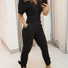 2020 Women Elegant Fashion Casual Romper Female Stylish Work Wear Jumpsuit V Nec