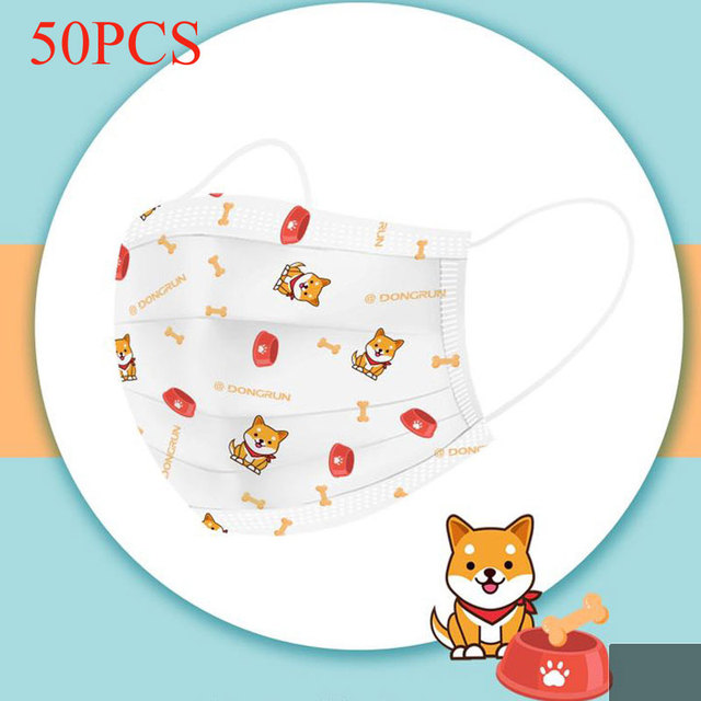 50pcs 3-13 Years Old Children's 3 Layers Face Mask Kid Non-woven PP Face Anti-bacterial Anti-flu Disposable Cartoon Printed Mask