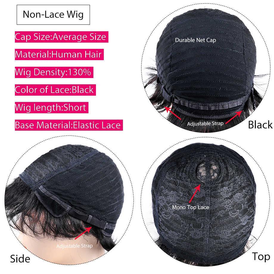 "Peri kesim peruk brezilyalı düz saç 8 ""inç doğal siyah renk kısa tam makine İnsan saç peruk kadın Piaoyi saç"