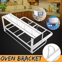 Space Aluminum Microwave Oven Bracket with Hook Wall Mounted Kitchen Organizer Rack Bracket 2 Tier Microwave Oven Rack Shelf