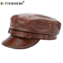 BUTTERMERE Winter Hat For Men Women Military Army Caps Male Female Genuine Leather Newsboy Cap Black Brown Baker Boy