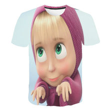 Boys and girls 3D mink print T-shirt, cartoon print custom T-shirt, children's clothing 2021 latest customization