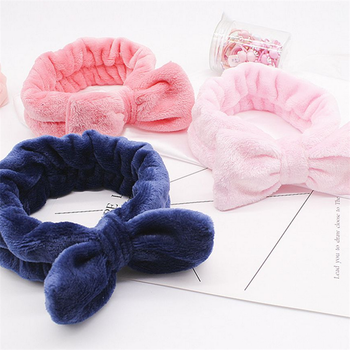 Flannel Cosmetic Headbands Soft Bowknot Elastic Hair Band Hairlace for Washing Face Shower Spa Makeup Tools 2