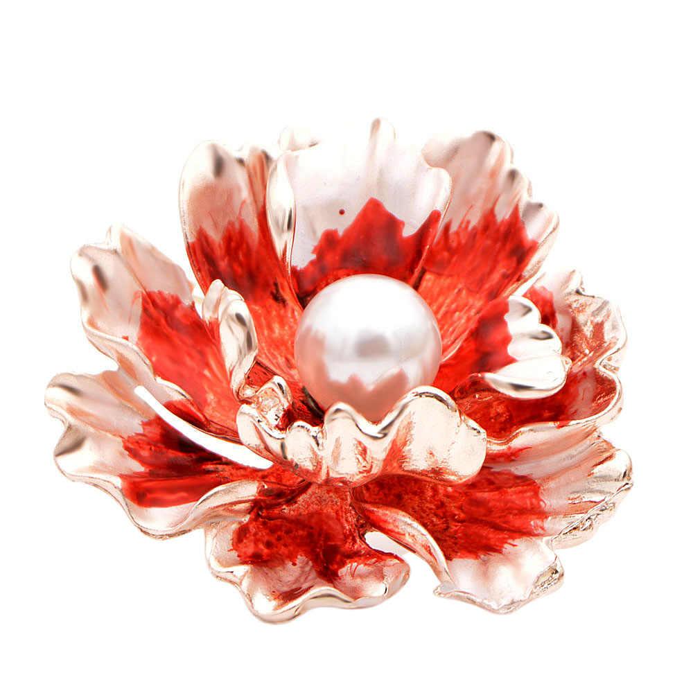 Giovane Tulipano Brillantemente Fiori Modello Aghi Delicato Collare di Perle Spille delle Donne Charming Corpetto Per Amico Regali di Nozze
