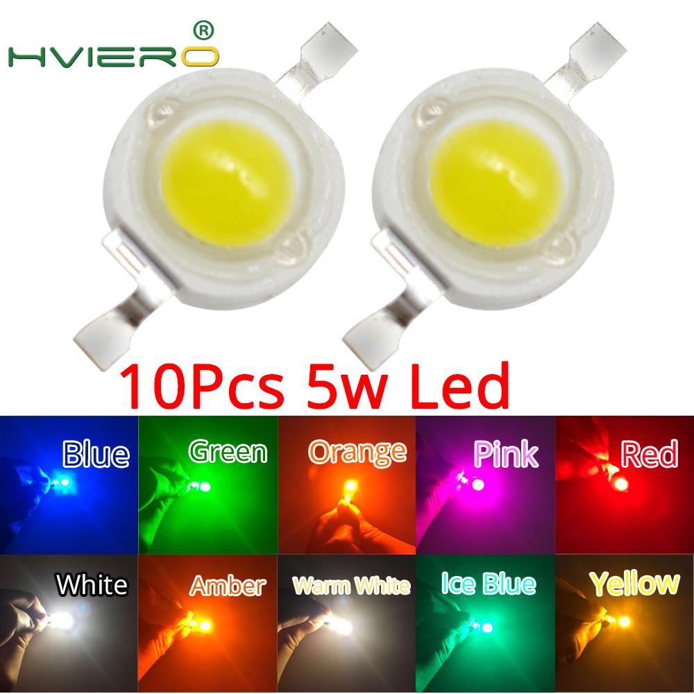 10Pcs 5W High Power Chip Light Bead Emitter Warm White White Yellow Green Pink Red 45MIL 2.2~7V 180-550LM  380NM~6500K LED Bulb