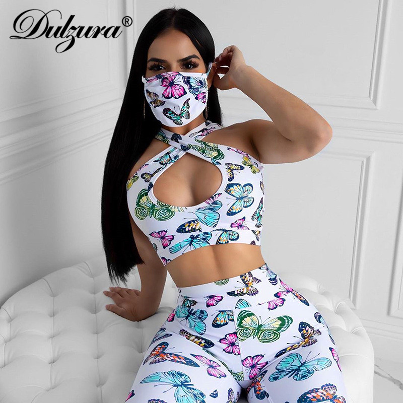 Dulzura Butterfly Print Hollow Out Women 2 Piece Set Crop Top Leggings Fitness Sexy 2020 Summer Clothes Outfit Tracksuit Sports