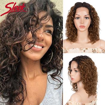 Eleganckie peruki z ludzkich włosów Curl koronki przodu peruki z ludzkich włosów dla kobiet Ombre Bob Water Wave peruki z ludzkich włosów kolorowe koronki przodu peruki tanie i dobre opinie Sleek CN (pochodzenie) Remy włosy Średnia wielkość Przezroczysty Ciemniejszy kolor tylko Swiss koronki Brazylijski włosy