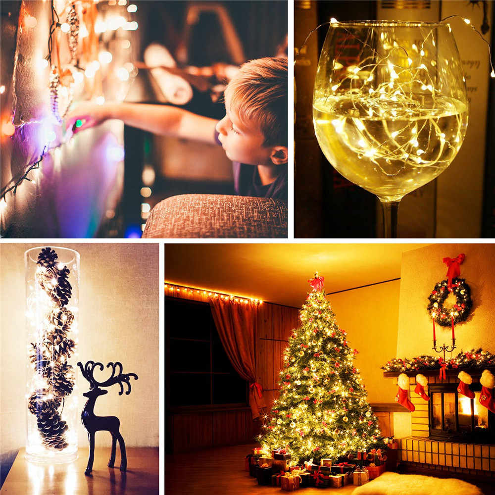 1M 2M 3M 5M 구리 와이어 LED 문자열 조명 휴일 조명 방수 크리스마스 갈 랜드 새 해 웨딩 파티 장식