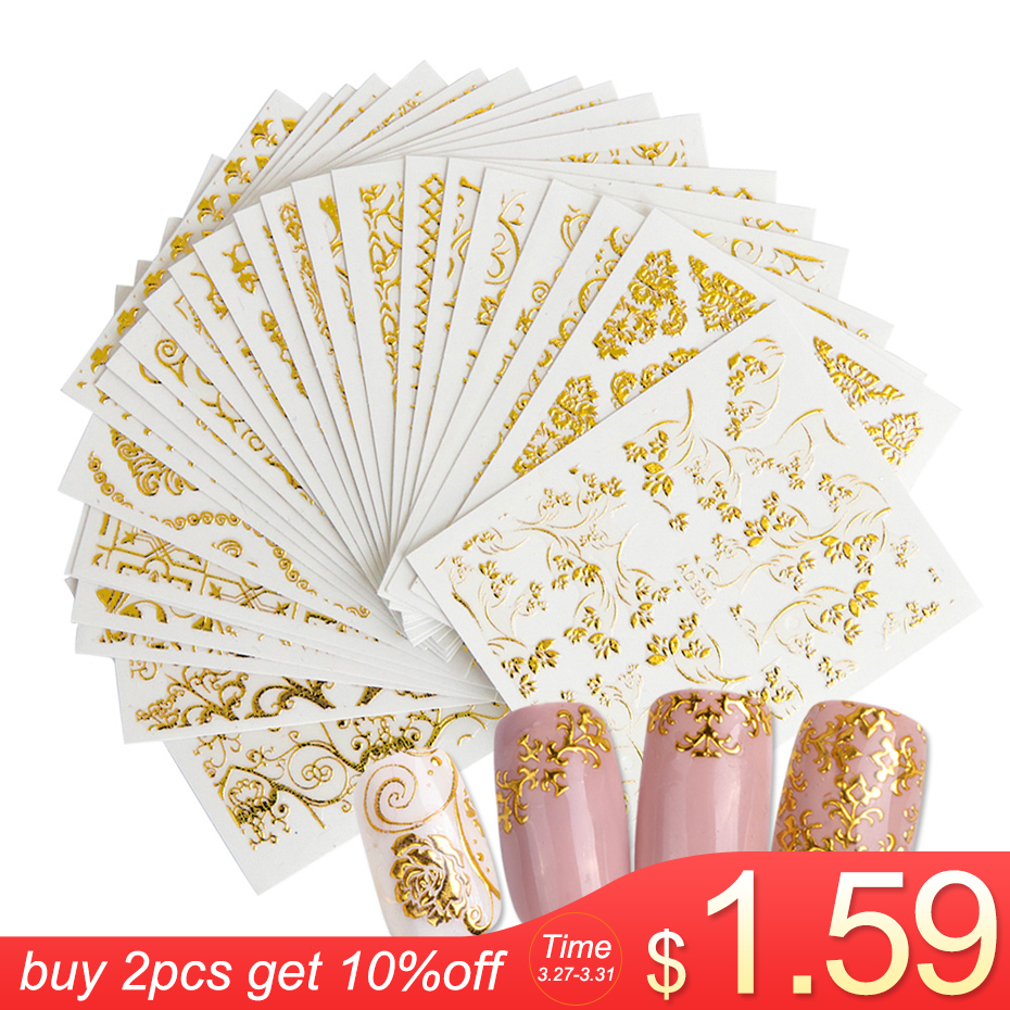 20Sheets Gold 3d Nail Art Stickers Hollow Decals Mixed Designs Adhesive Flower Nail Tips Decorations Salon Accessory LAAD301-326