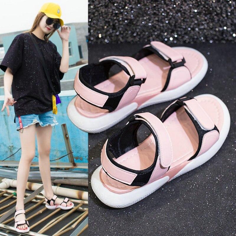 Sandals Women Wild-Footwear Letters Casual-Shoes Heel-Pretty Summer Wedge Girls Walking