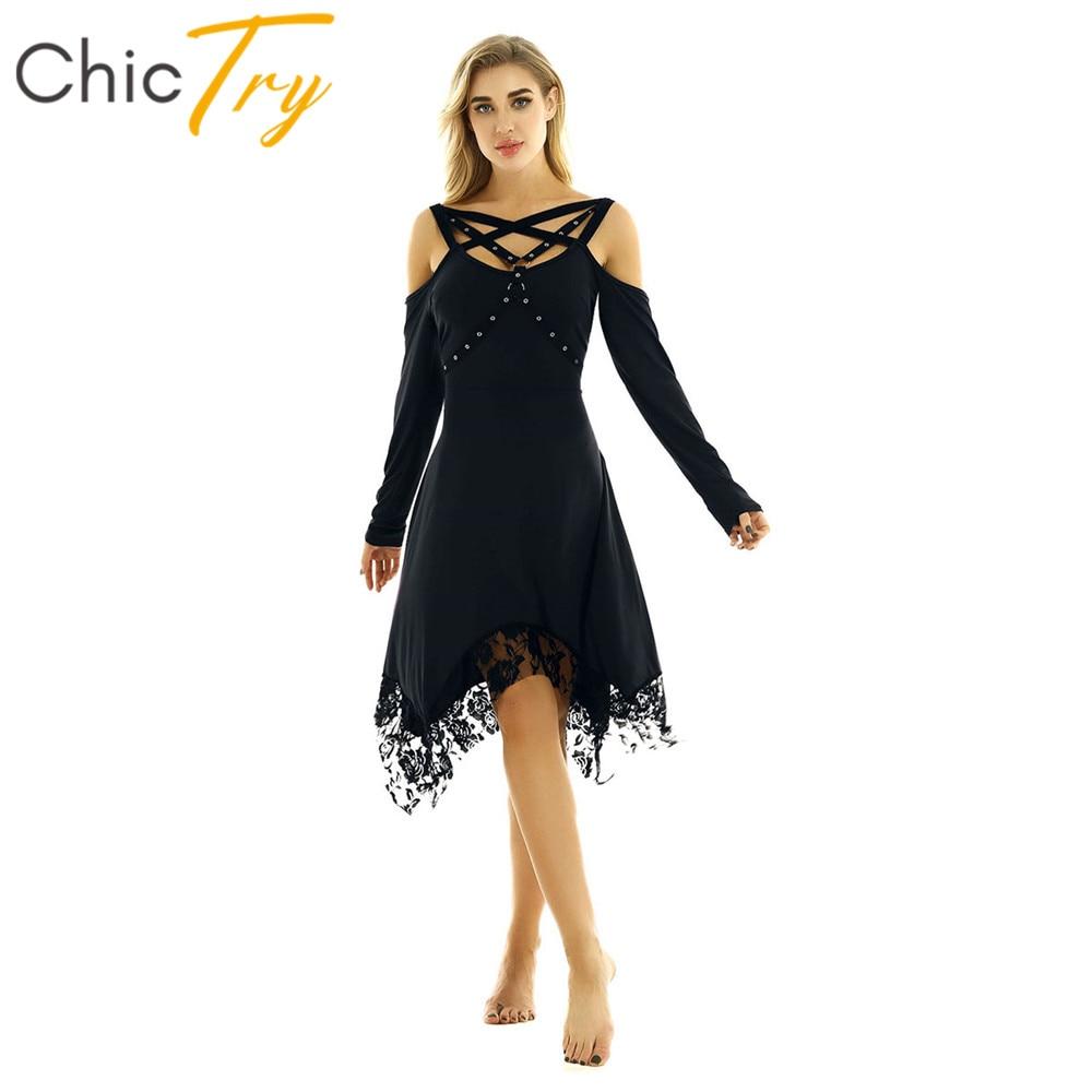 ChicTry Women Long Sleeves Off The Shoulder Irregular Lace Hem Vintage Gothic Ballroom Party Performance Solid Color Dance Dress