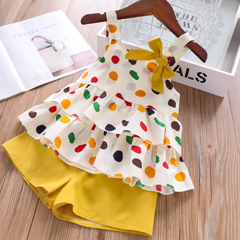Humor Bear Girls Clothing Set 2020 Korean Summer New Ice Cream Bow Top T-shirt+Pants Kids Suit Toddler Baby Children's Clothes 11