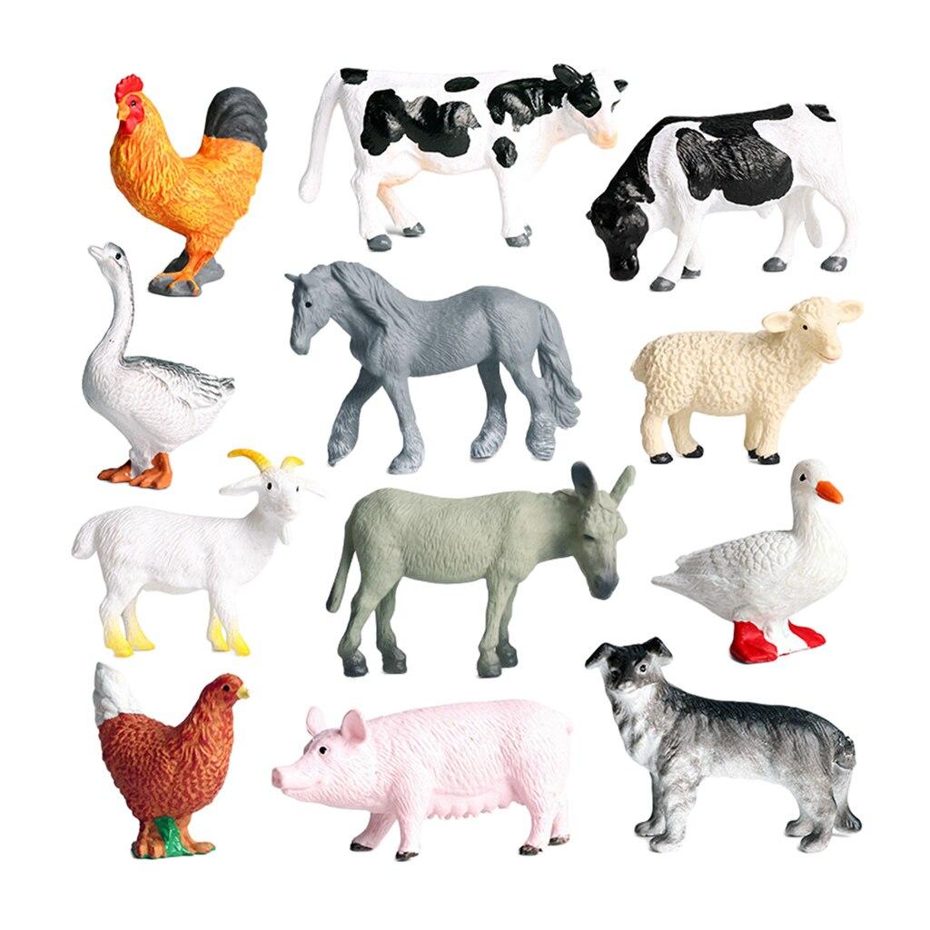 12 peças simulação realista fazenda animal modelo crianças brinquedo educativo decoração do teatro