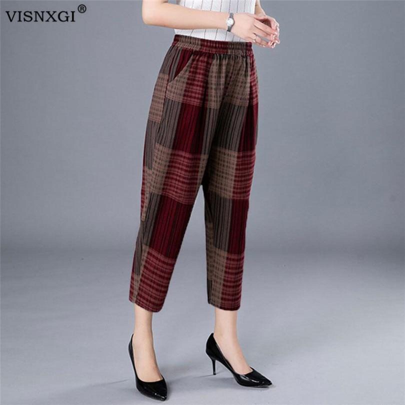 VISNXGI Cotton Linen Pants Women Summer Loose Harem Pants Causal Print Wide Leg Plus Size Fold Dot Pocket Elastic Waist Trousers