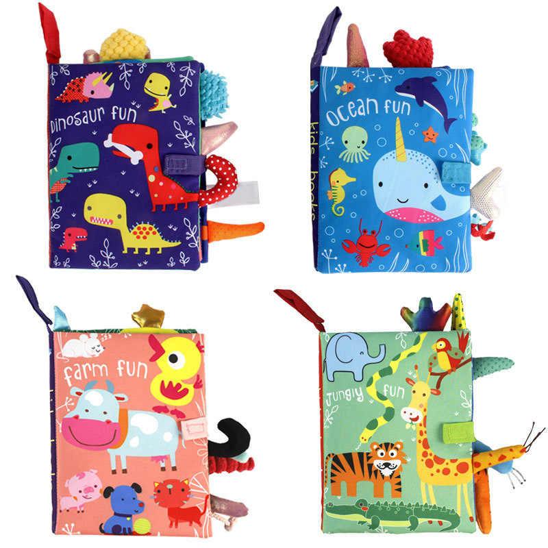 동물 스타일 원숭이/올빼미/개 신생아 아기 장난감 학습 교육 키즈 헝겊 책 귀여운 유아 아기 패브릭 책 Ratteles 장난감