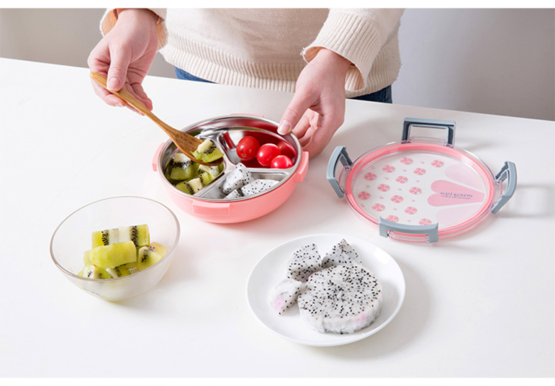 TUUTH Healthy Plastic & Stainless Steel Food Container Portable Lunch Box Camping Picnic Food Fruit 3 Grids Container Storage Box7