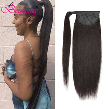 Straight Ponytail Hair-Extension Human-Hair Bouncing Brazilian Natural-Color Clip-In