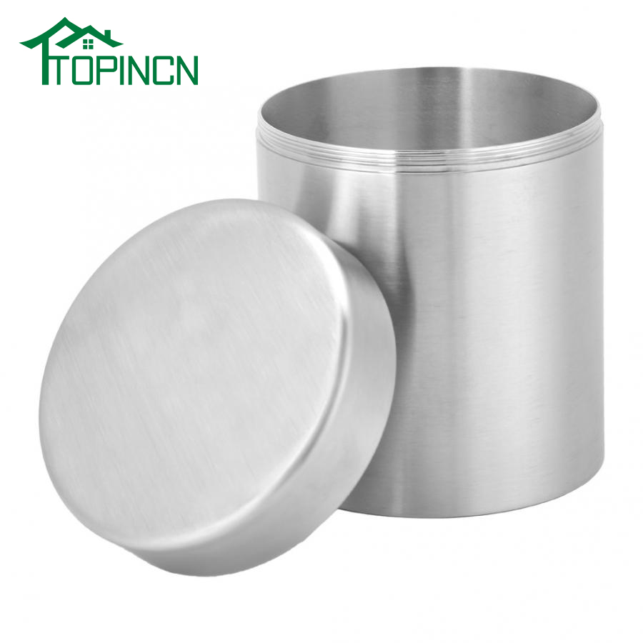 """Tin Canister Can Container 4/"""" square w// round lid Vegetable Design"""