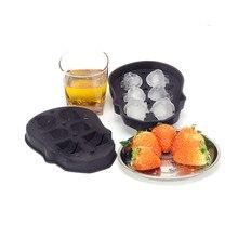 Хэллоуин Череп 6 отверстий лоток для льда Силиконовые замороженные кубики льда вечерние домашние конфеты форма кухонные Инструменты Пудинг Форма для изготовления мороженого