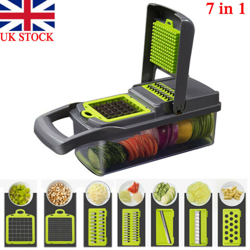 New Vegetable Chopper Food Onion Veggie 7 In1 Food Salad Fruit Peeler Slicer Dicer Chopper Kitchen Tool  Cutter Stainless Steel