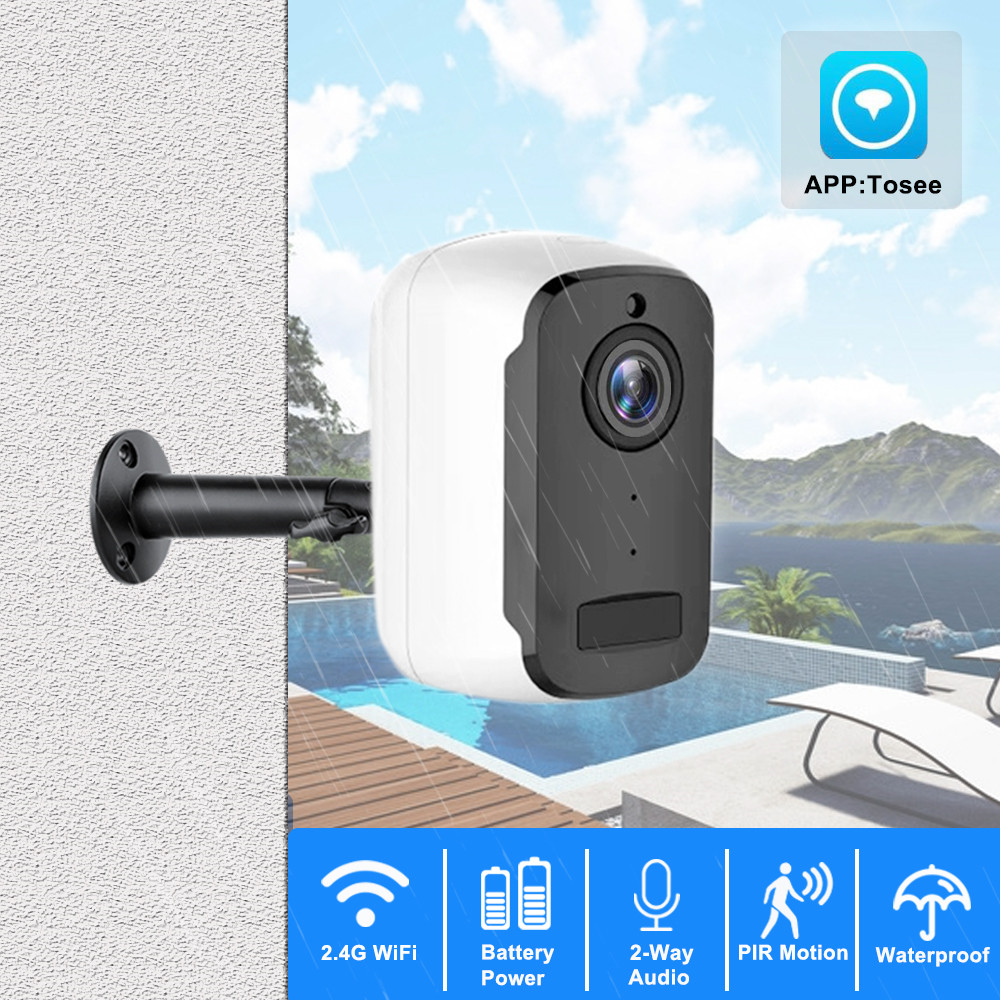 1080P HD WiFi IP Camera Outdoor Wireless Security Battery Charge Camera Audio Surveillance CCTV PIR Motion Detection SD Card-in Surveillance Cameras from Security & Protection