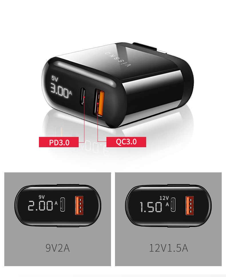شحن سريع 3.0 شاحن يو اس بي وكابل آيفون 11 برو ماكس سامسونج هواوي الهاتف المحمول QC3.0 PD3.0 نوع C PD شاحن سريع