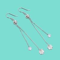 Elegant Women's 925 Sterling Silver Earrings Long Flower Pendant Design Rose Gold Earrings Lady's Fine Jewelry Mother's Day Gift