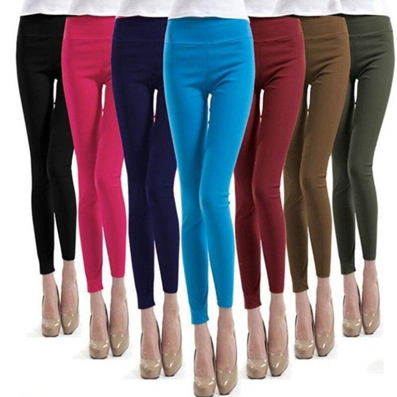 Plus Size Leggings Women Summer Candy Color Sexy High Waist Pencil Pants High Elasticity Push Up Leggings Femme Leggins Mujer