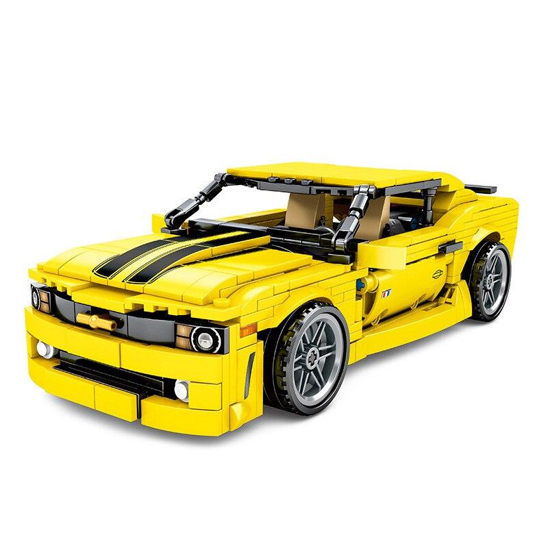 NEW MOC Back Force GT Bumblebee Camaro Super Race Car Parts Champion Building Blocks Sets Kits Bricks Toys Compatible Creator