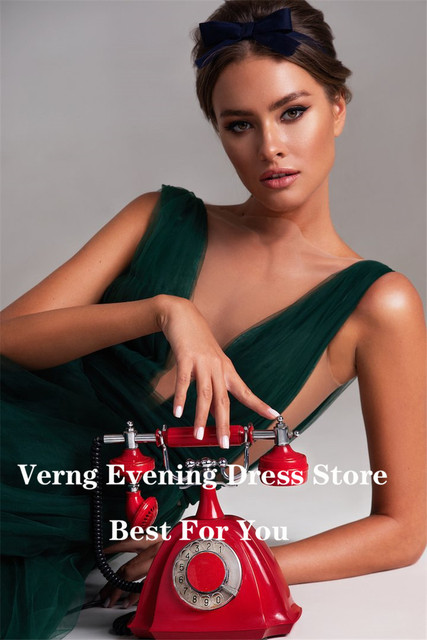 Verngo Modern Dark Green Tulle A Line Long Evening Dresses Sheer Neck High Side Slit Sexy Prom Gowns Women Special Occasion Wear 2