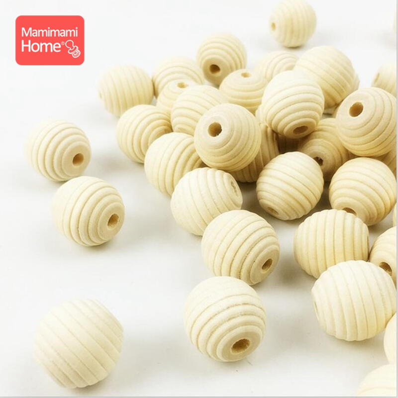 Mamihome 18mm 50pc Wooden Beads Baby Teether Threaded Beads Wooden Blank DIY For Nursing Bracelets Gifts Children'S Goods Toys