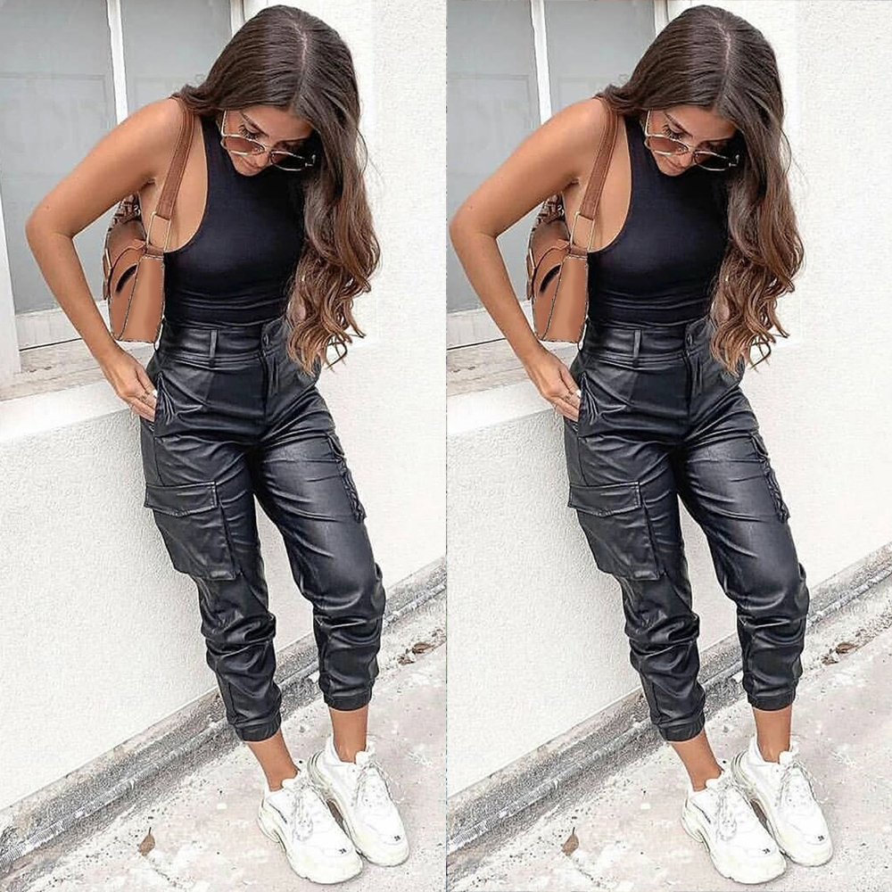 2020 Fashion Girls High Waist PU Leather Pants Spring Women Black Faux Leather Cargo Pants Ladies Punk Trousers Streetwear D30