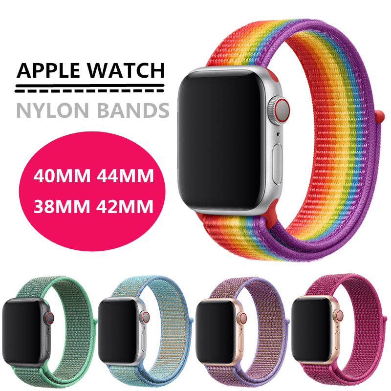 40mm 44mm Watch Band For Apple Watch Series 4 5 38mm 42mm Loop Nylon Soft Sport Breathable Strap For IWatch Iwo 12